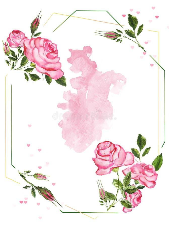 Fondo delle rose dell'acquerello illustrazione di stock