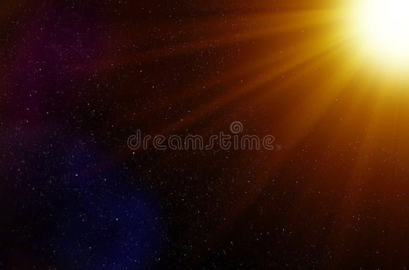 Fondo delle stelle dello spazio e dei raggi luminosi royalty illustrazione gratis