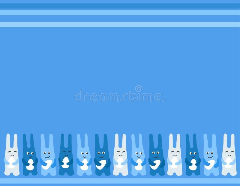 Fondo delle uova di Pasqua di divertimento tre del coniglietto di pasqua per la cartolina d'auguri illustrazione di stock