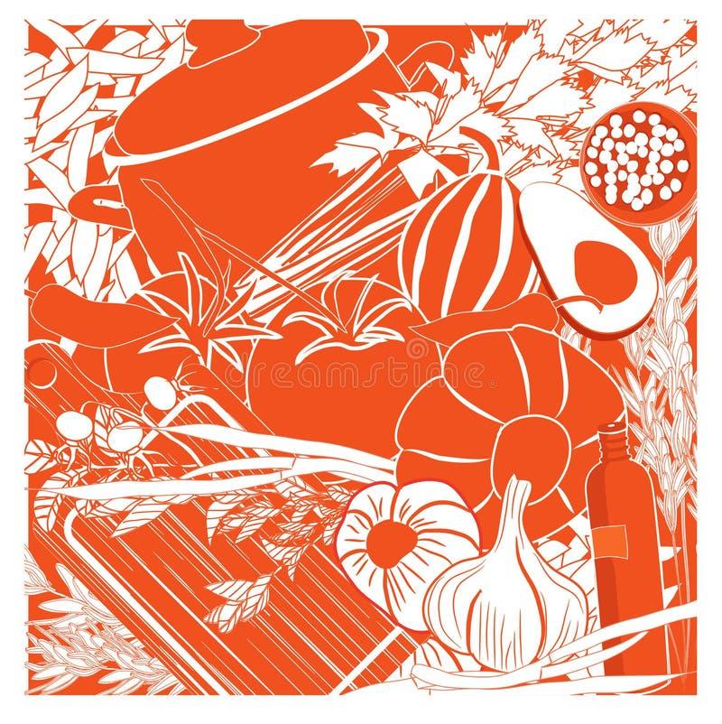 Fondo delle verdure di vettore con articolo da cucina nei colori arancio e bianchi royalty illustrazione gratis