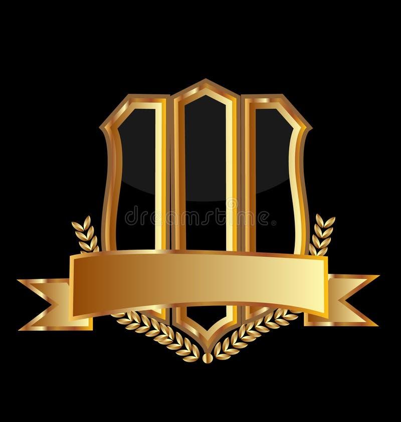 Fondo dello schermo dell'emblema dell'oro, vettore dell'icona illustrazione vettoriale