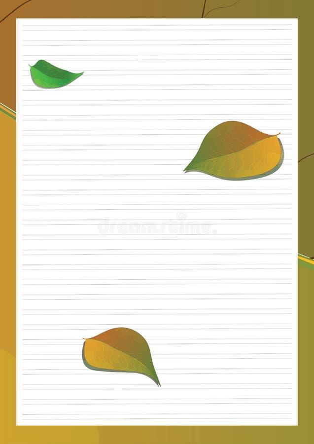 Fondo dello scrittorio della scuola con le foglie di autunno royalty illustrazione gratis