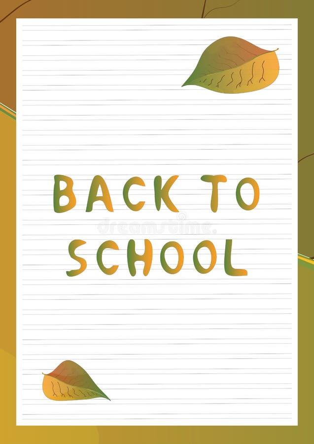Fondo dello scrittorio della scuola con testo di nuovo alla scuola illustrazione di stock