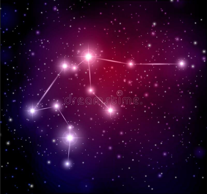 fondo dello spazio con le stelle e la costellazione di acquario illustrazione di stock