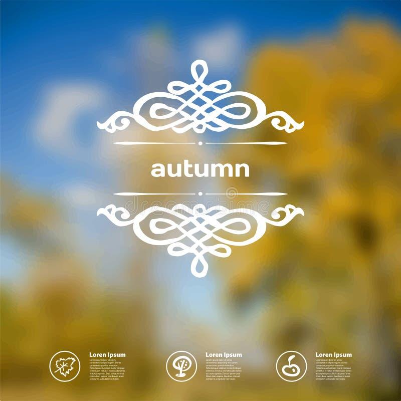 Fondo dello spazio defocused delle foglie di autunno per testo in annata royalty illustrazione gratis