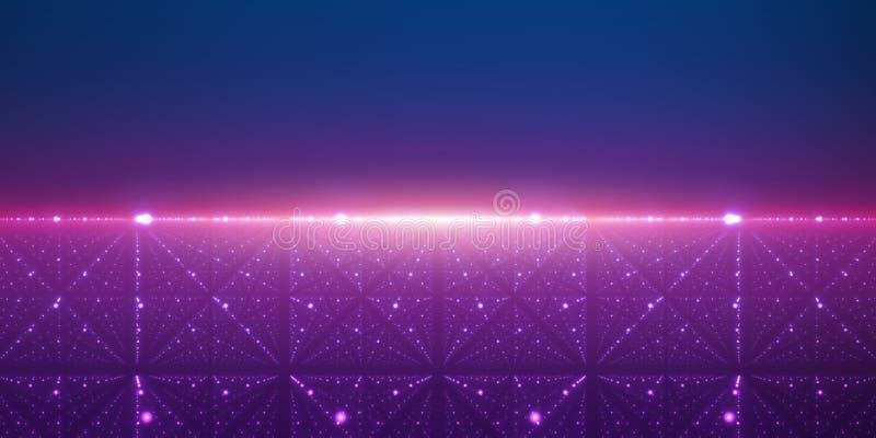 Fondo dello spazio infinito di vettore La matrice dell'ardore stars con l'illusione di profondità e della prospettiva illustrazione vettoriale