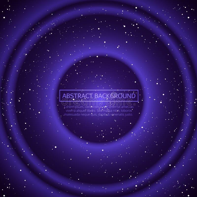 Fondo dello spazio infinito di vettore La matrice dell'ardore stars con l'illusione di profondità e della prospettiva Futuristico illustrazione vettoriale