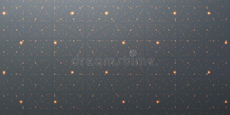 Fondo dello spazio infinito di vettore La matrice dell'ardore stars con l'illusione di profondità, prospettiva royalty illustrazione gratis