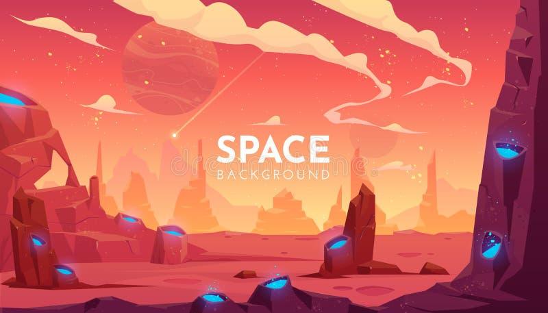 Fondo dello spazio, paesaggio straniero vuoto di fantasia illustrazione di stock