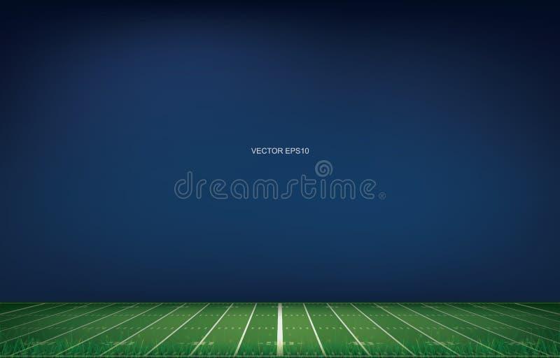 Fondo dello stadio di football americano con la linea modello di prospettiva di campo di erba illustrazione di stock