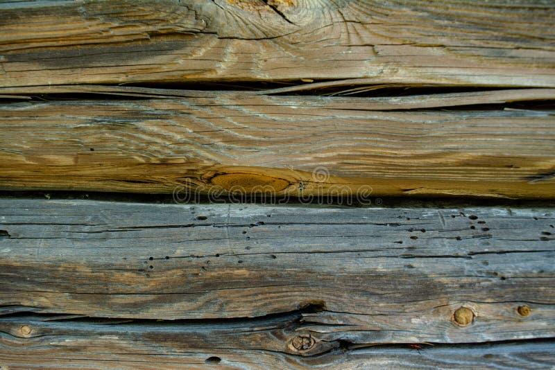 Fondo descolorado de madera gris de los registros con los defectos imagenes de archivo
