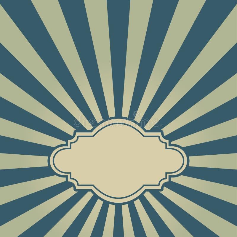 Fondo descolorado retro de la luz del sol con el marco del vintage para el texto fondo azul marino y beige de la explosión de col ilustración del vector