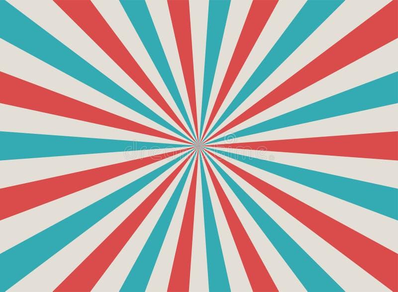Fondo descolorado retro de la luz del sol Fondo rojo, azul, beige pálido de la explosión de color Ilustración del vector de la fa ilustración del vector