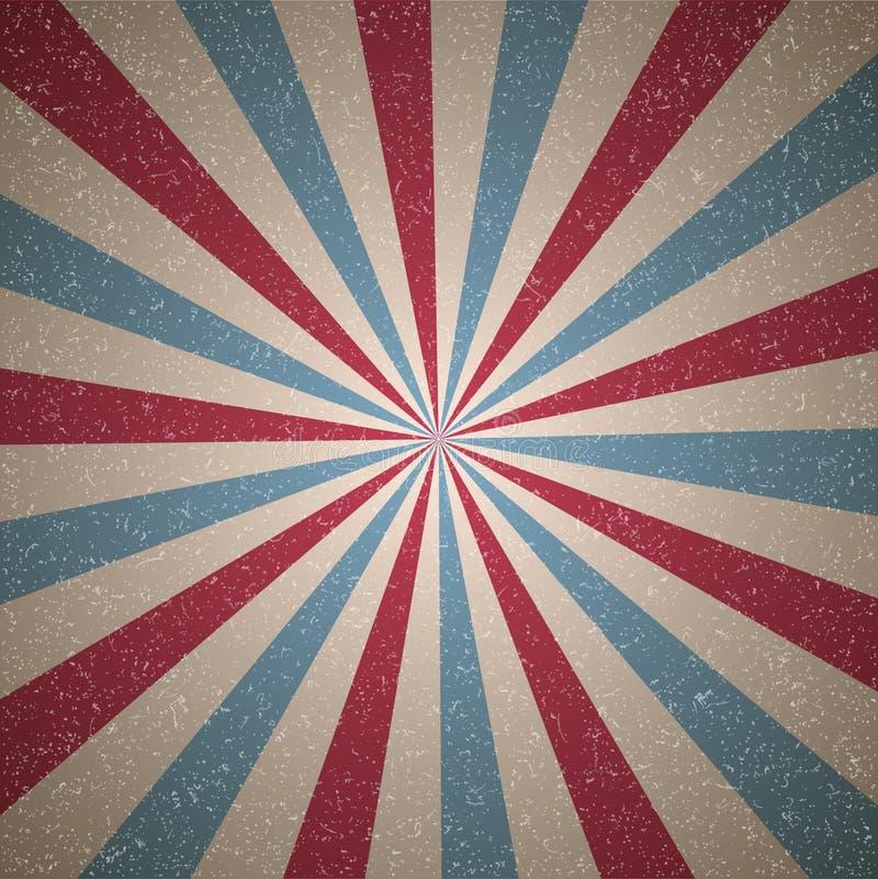 Fondo descolorado retro del grunge de la luz del sol fondo de la explosi?n de color azul y rojo Ilustraci?n del vector Rayo del h stock de ilustración