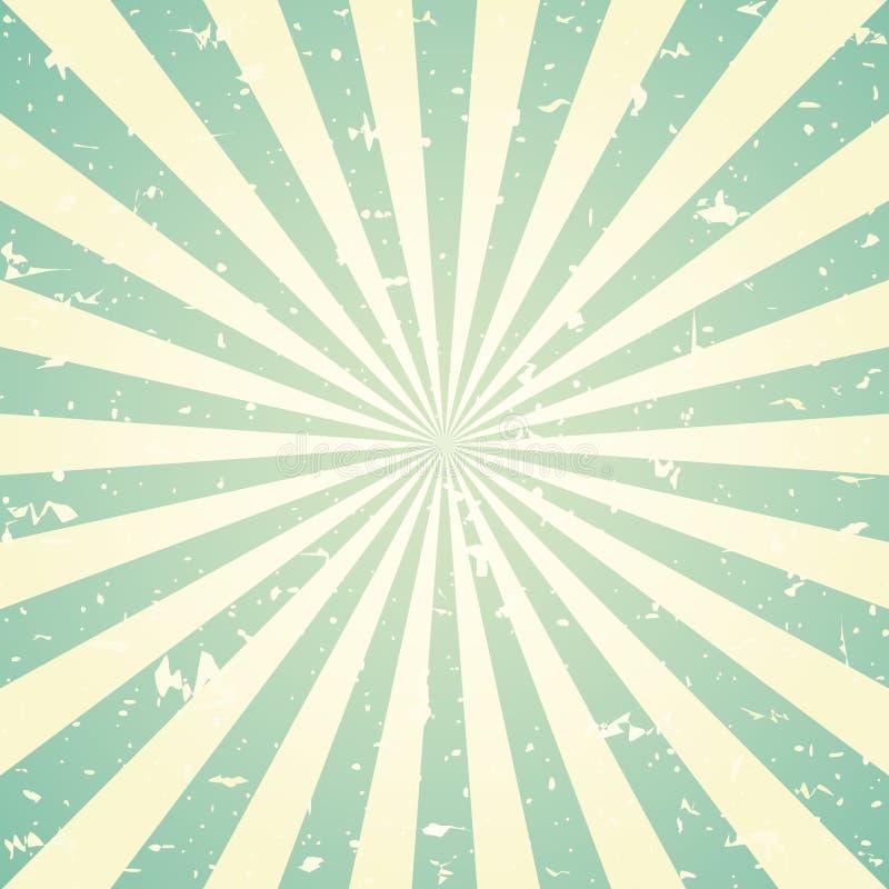 Fondo descolorado retro del grunge de la luz del sol fondo verde y beige de la explosión de color Ilustración del vector ilustración del vector