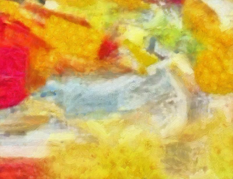 Fondo detallado del extracto del multicolor del grunge del primer Br seco libre illustration