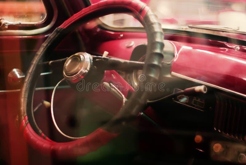 Fondo - dettaglio interno di un'automobile d'annata fotografia stock