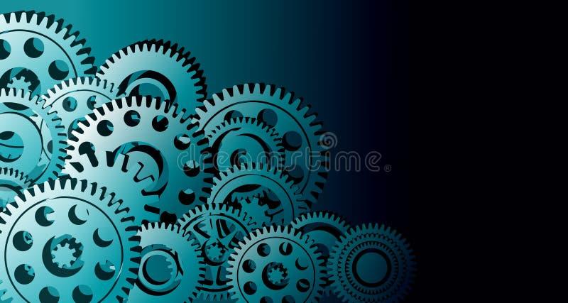 Fondo di affari industriali degli ingranaggi dei denti integrazione del fondo fondo dell'insegna di tecnologia Illustrazione di v royalty illustrazione gratis