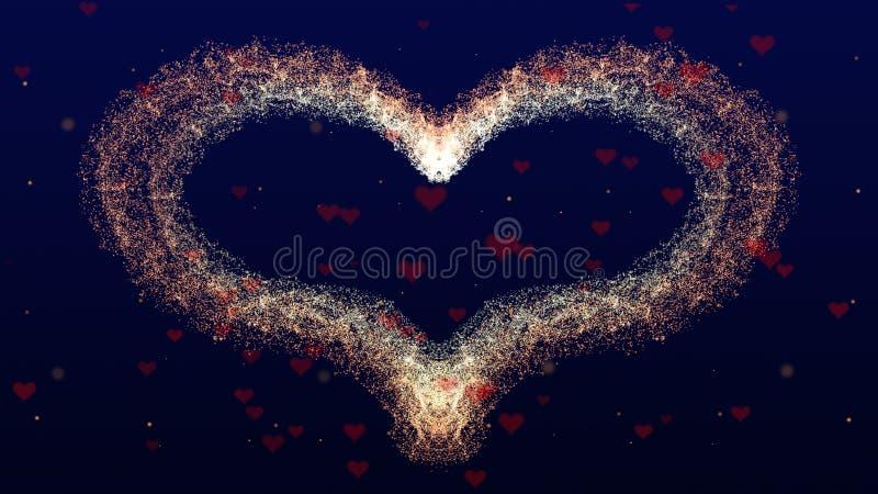 Fondo di amore con cuore rosso per il San Valentino Backgrop blu profondo Il fuoco è su cuore fotografie stock libere da diritti