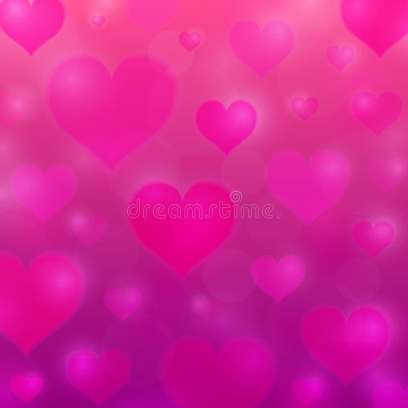Fondo di amore con i cuori rosa Struttura di giorno del ` s del biglietto di S. Valentino Priorità bassa del cuore Illustrazione  illustrazione di stock