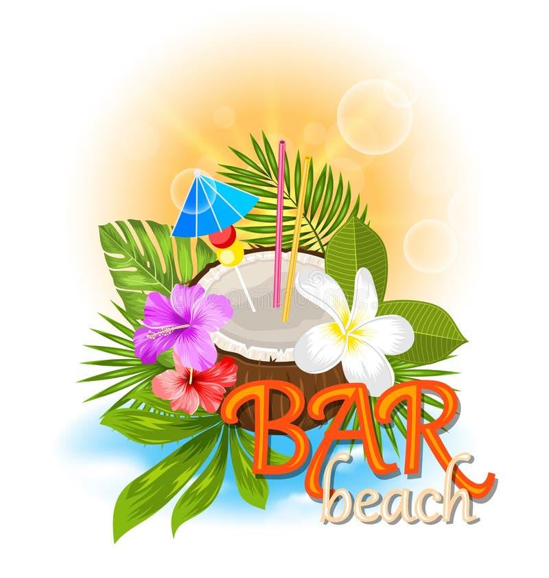 Fondo di Antivari della spiaggia con il cocktail della noce di cocco illustrazione di stock