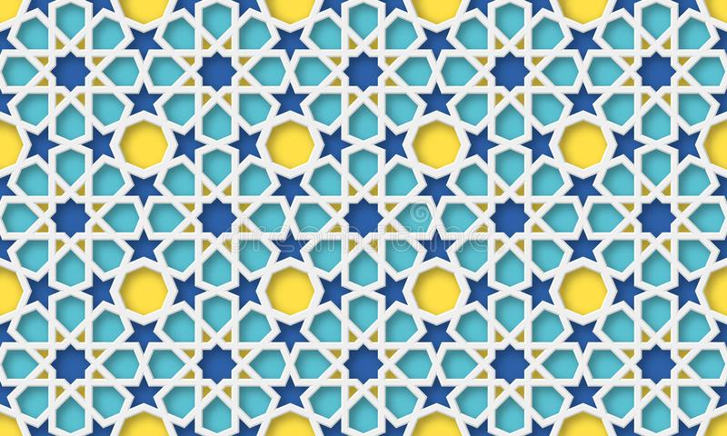 fondo di arabo 3d Reticolo geometrico islamico illustrazione di stock