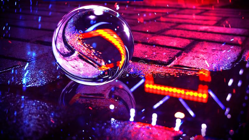 Fondo di asfalto bagnato con luce al neon Riflessione delle luci al neon in pozze, colori luminosi, palla di vetro fotografia stock libera da diritti