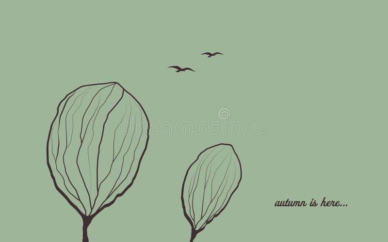 Fondo di autunno con gli alberi in vento Carta da parati malinconica di vettore di simbolo di emozione Uccelli che volano nel cie royalty illustrazione gratis
