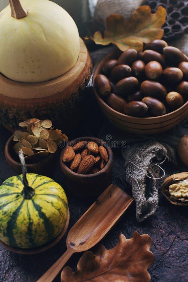 Fondo di autunno con la zucca decorativa, cereale, wallnuts, foglie di autunno, ghiande sulla tavola di pietra scura immagine stock libera da diritti