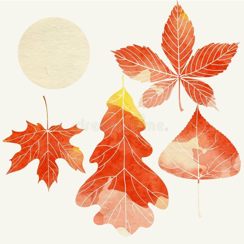 Fondo di autunno con le foglie illustrazione di stock