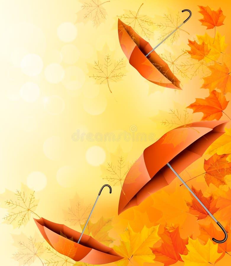 Fondo di autunno con le foglie di autunno illustrazione vettoriale