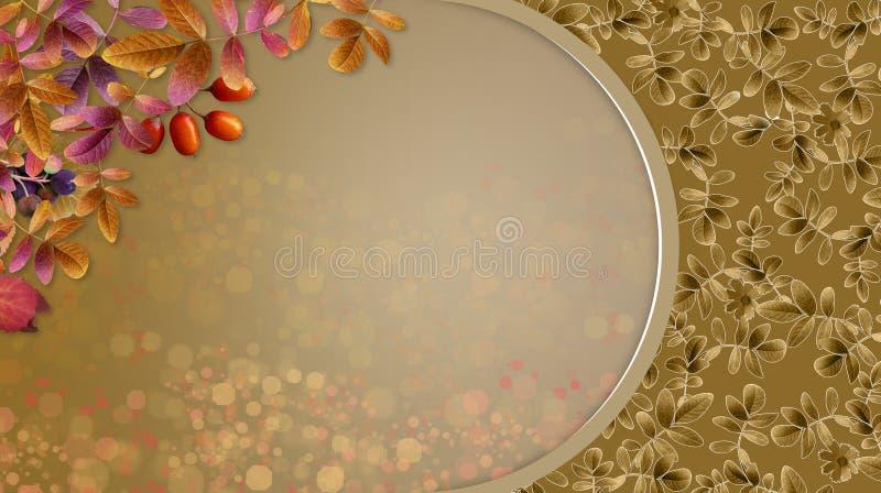 Fondo di autunno con le foglie e la struttura decorativa del bokeh immagine stock