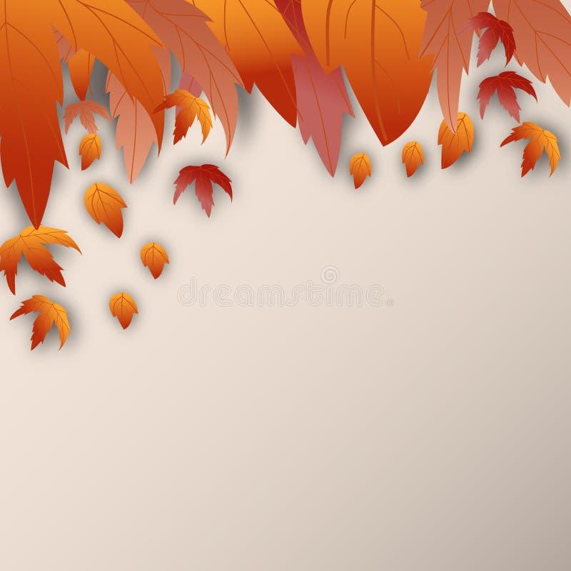 Fondo di autunno con le foglie di marrone e spazio per testo royalty illustrazione gratis
