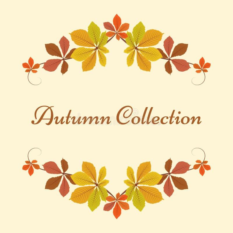 Fondo di autunno, struttura della decorazione con le foglie gialle illustrazione vettoriale