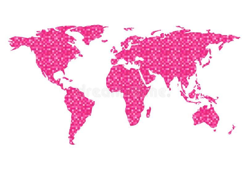 Fondo di bianco del modello del pixel di rosa di vettore del profilo della mappa di mondo royalty illustrazione gratis