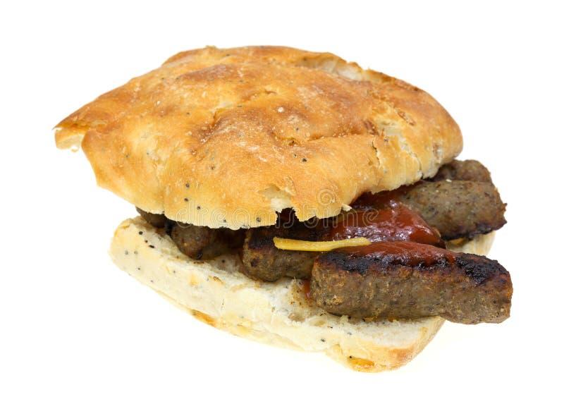 Fondo di bianco del panino del formaggio della salsiccia della Turchia fotografie stock libere da diritti