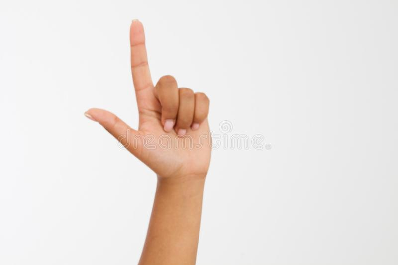 Fondo di bianco del punto del dito mano afroamericana Derisione su Copi lo spazio mascherina blank fotografie stock libere da diritti