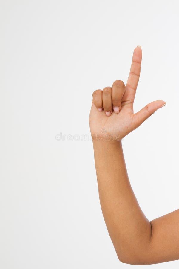 Fondo di bianco del punto del dito mano afroamericana Derisione su Copi lo spazio mascherina blank immagini stock libere da diritti
