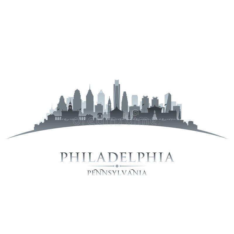 Fondo di bianco della siluetta della città di Filadelfia Pensilvania illustrazione vettoriale