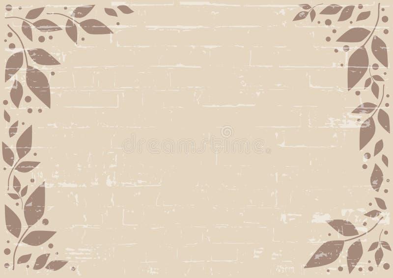 Fondo di Brown decorato con le foglie ed i punti di marrone con struttura del muro di mattoni per royalty illustrazione gratis