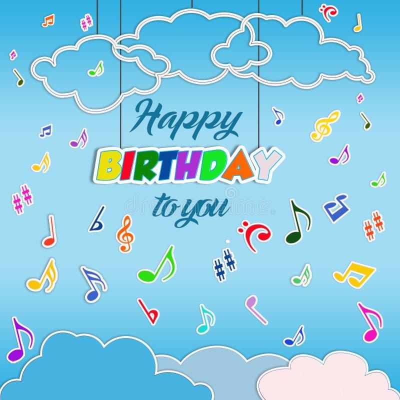 Fondo di buon compleanno con le note musicali di volo illustrazione di stock