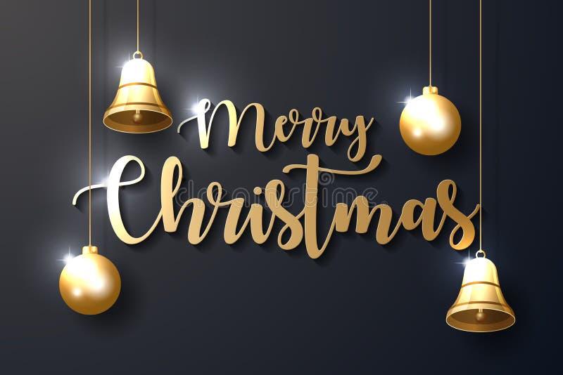 Fondo di Buon Natale con gli ornamenti brillanti dell'oro illustrazione di stock