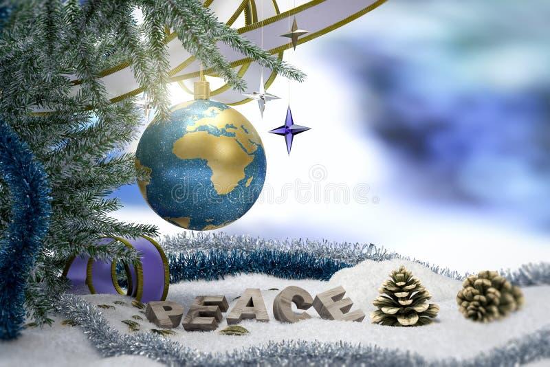 Fondo di Buon Natale e del buon anno con terra illustrazione di stock