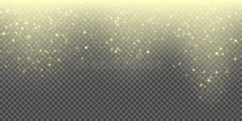 Fondo di caduta di vettore della neve delle precipitazioni nevose scintillanti dorate e dei fiocchi di neve brillanti Scintillio  royalty illustrazione gratis