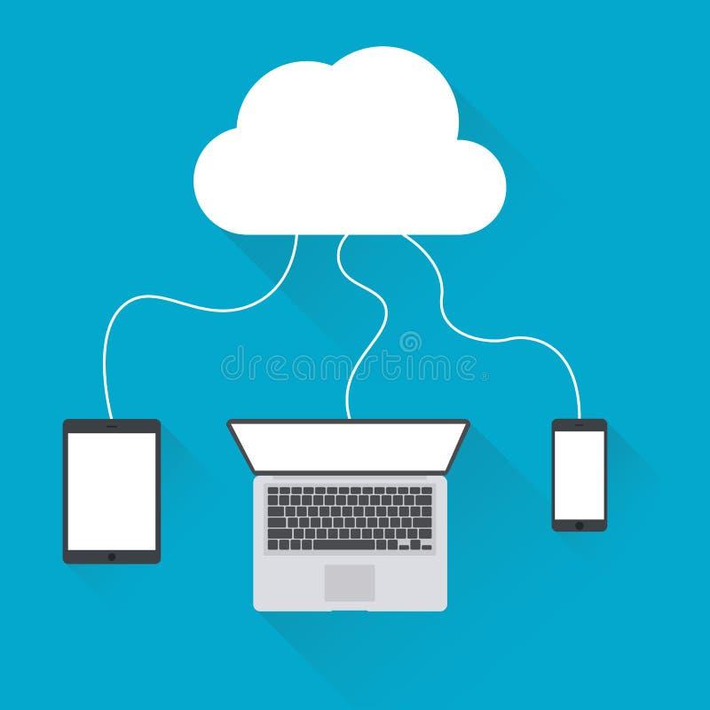 Fondo di calcolo della nuvola piana Tecnologia di rete di archiviazione di dati Ospitalità dei siti Web e del contenuto multimedi illustrazione vettoriale