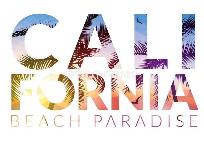 Fondo di California con la palma Spiaggia del fondo di vettore Progettazione tropicale dell'insegna di estate Illustrazione del m illustrazione di stock