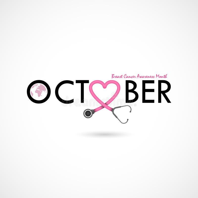 Fondo di campagna di mese di consapevolezza di ottobre del cancro al seno Donne illustrazione vettoriale