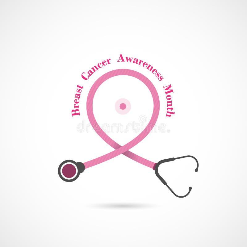 Fondo di campagna di mese di consapevolezza di ottobre del cancro al seno Donne illustrazione di stock
