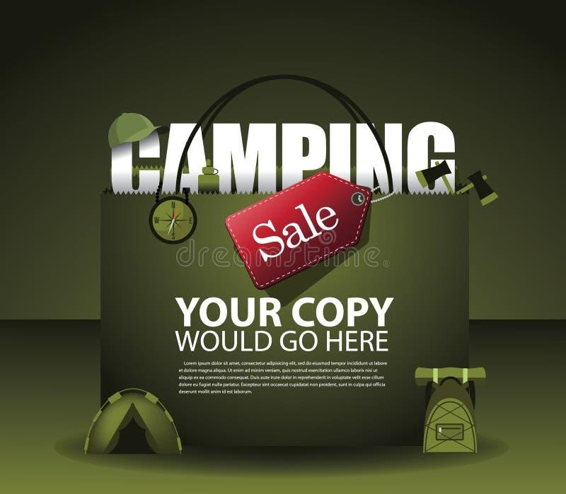 Fondo di campeggio ENV 10 del sacchetto della spesa di vendita royalty illustrazione gratis