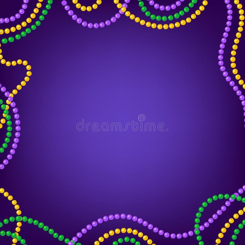Fondo di carnevale di Mardi Gras con colorfull giallo, struttura porpora e verde delle perle Illustrazione di vettore isolata sul royalty illustrazione gratis